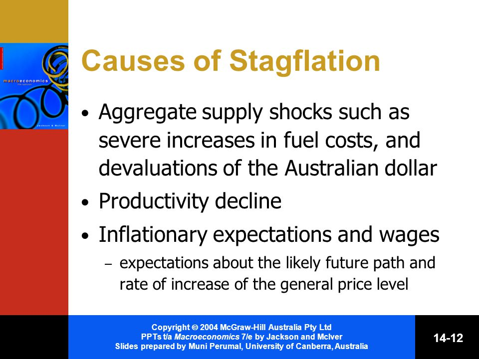 Copyright  2004 McGraw-Hill Australia Pty Ltd PPTs t/a Macroeconomics 7/e by Jackson and McIver Slides prepared by Muni Perumal, University of Canberra, Australia Causes of Stagflation Aggregate supply shocks such as severe increases in fuel costs, and devaluations of the Australian dollar Productivity decline Inflationary expectations and wages – expectations about the likely future path and rate of increase of the general price level