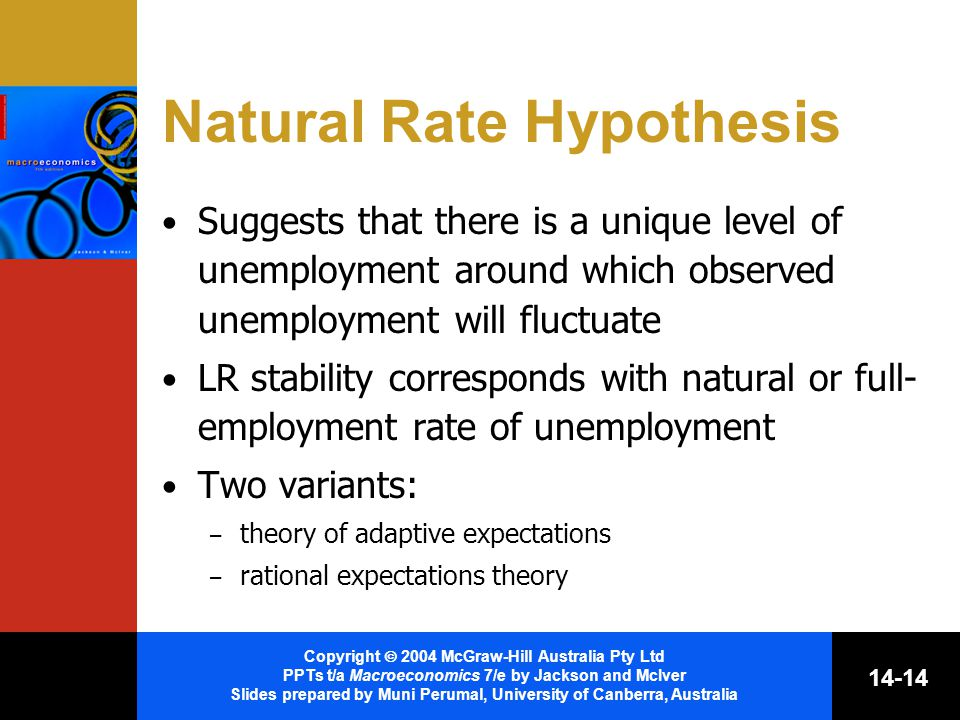 Copyright  2004 McGraw-Hill Australia Pty Ltd PPTs t/a Macroeconomics 7/e by Jackson and McIver Slides prepared by Muni Perumal, University of Canberra, Australia Natural Rate Hypothesis Suggests that there is a unique level of unemployment around which observed unemployment will fluctuate LR stability corresponds with natural or full- employment rate of unemployment Two variants: – theory of adaptive expectations – rational expectations theory