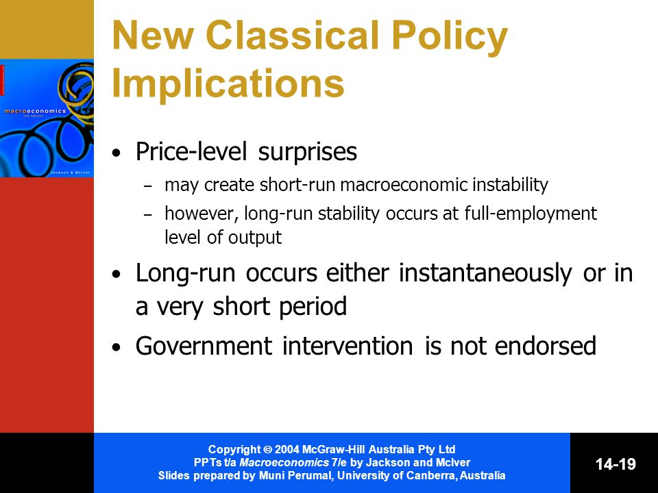 Copyright  2004 McGraw-Hill Australia Pty Ltd PPTs t/a Macroeconomics 7/e by Jackson and McIver Slides prepared by Muni Perumal, University of Canberra, Australia New Classical Policy Implications Price-level surprises – may create short-run macroeconomic instability – however, long-run stability occurs at full-employment level of output Long-run occurs either instantaneously or in a very short period Government intervention is not endorsed