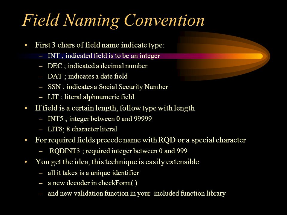 Field Naming Convention First 3 chars of field name indicate type: –INT ; indicated field is to be an integer –DEC ; indicated a decimal number –DAT ; indicates a date field –SSN ; indicates a Social Security Number –LIT ; literal alphnumeric field If field is a certain length, follow type with length –INT5 ; integer between 0 and –LIT8; 8 character literal For required fields precede name with RQD or a special character – RQDINT3 ; required integer between 0 and 999 You get the idea; this technique is easily extensible –all it takes is a unique identifier –a new decoder in checkForm( ) –and new validation function in your included function library