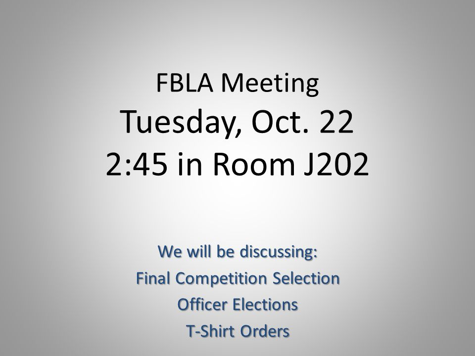 FBLA Meeting Tuesday, Oct.