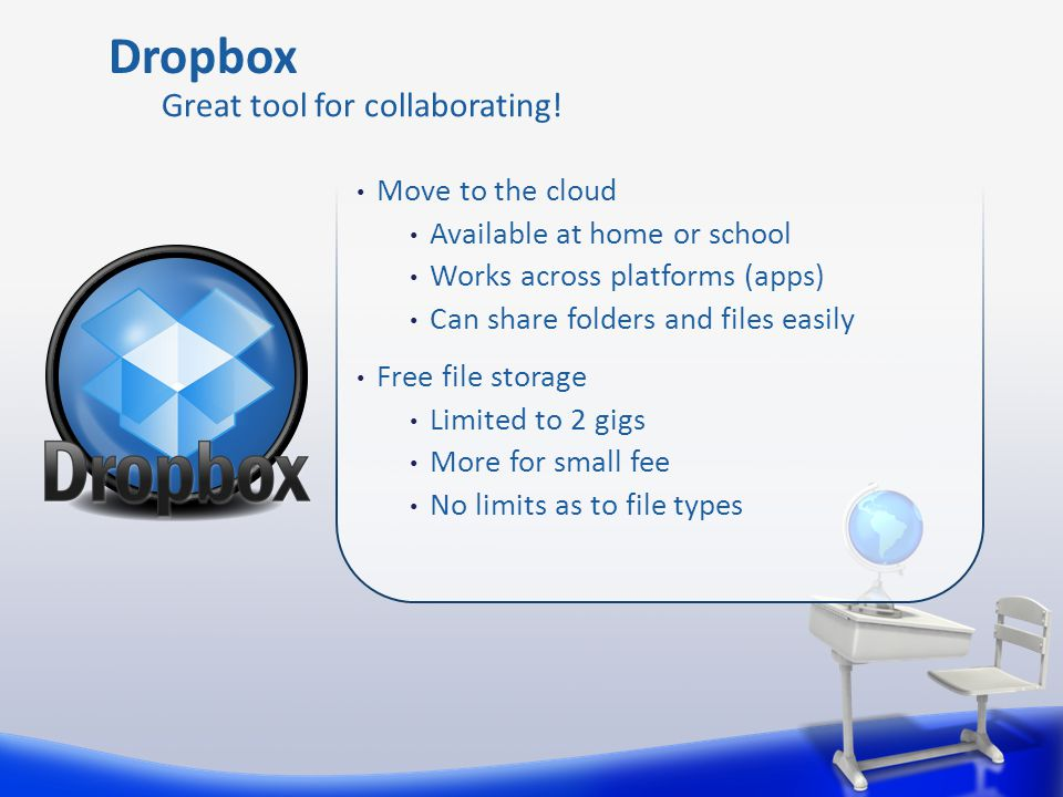 Move to the cloud Available at home or school Works across platforms (apps) Can share folders and files easily Free file storage Limited to 2 gigs More for small fee No limits as to file types Dropbox Great tool for collaborating!