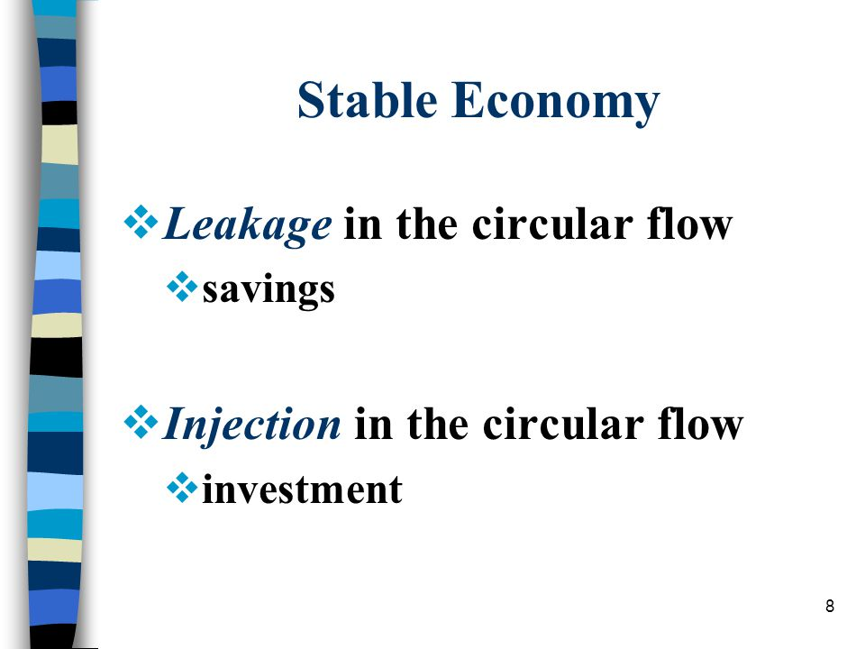 8 Stable Economy  Leakage in the circular flow  savings  Injection in the circular flow  investment