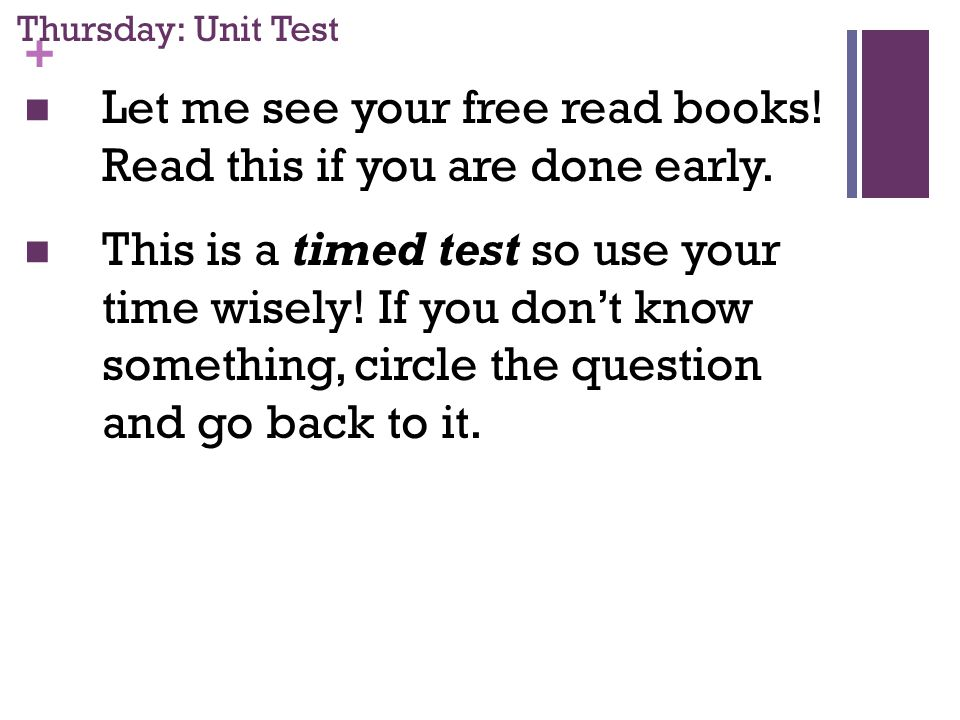 + Thursday: Unit Test Let me see your free read books.