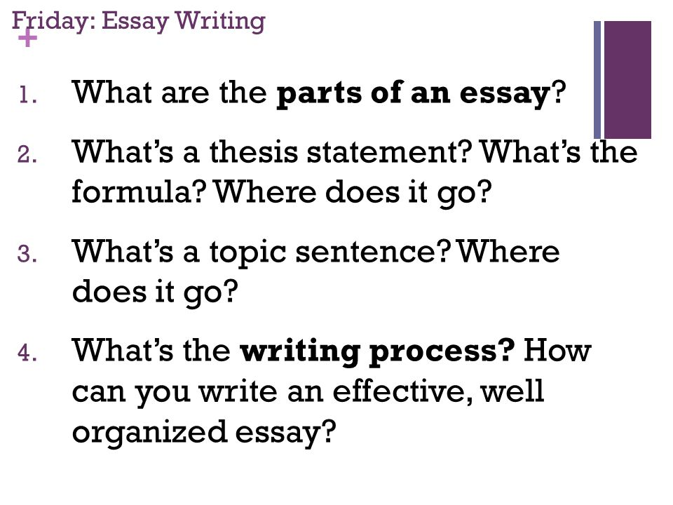 + Friday: Essay Writing 1. What are the parts of an essay.