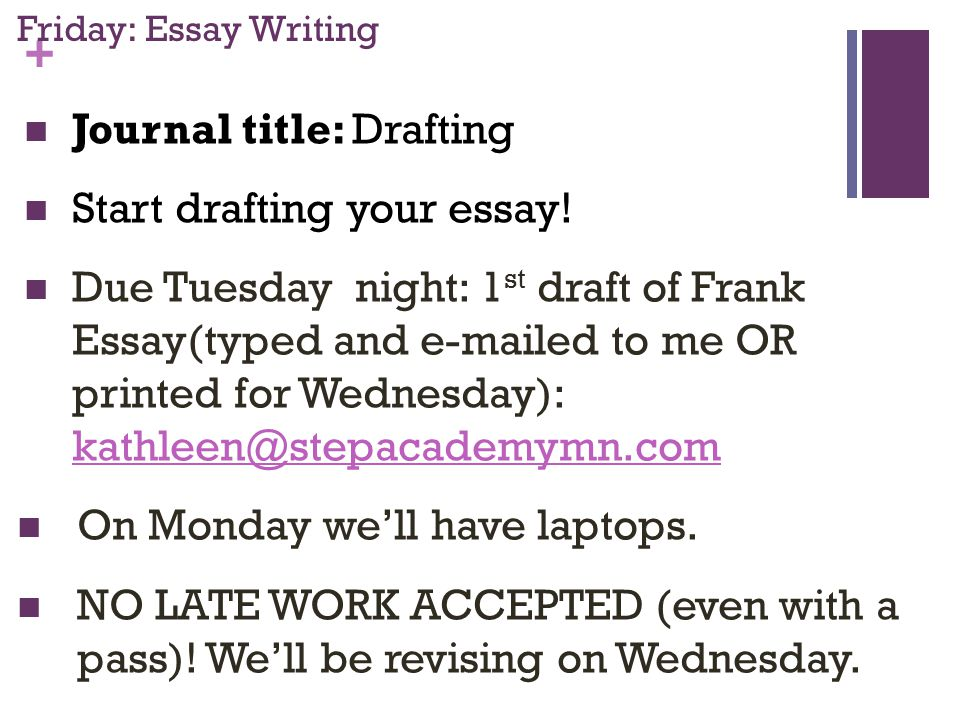 + Friday: Essay Writing Journal title: Drafting Start drafting your essay.