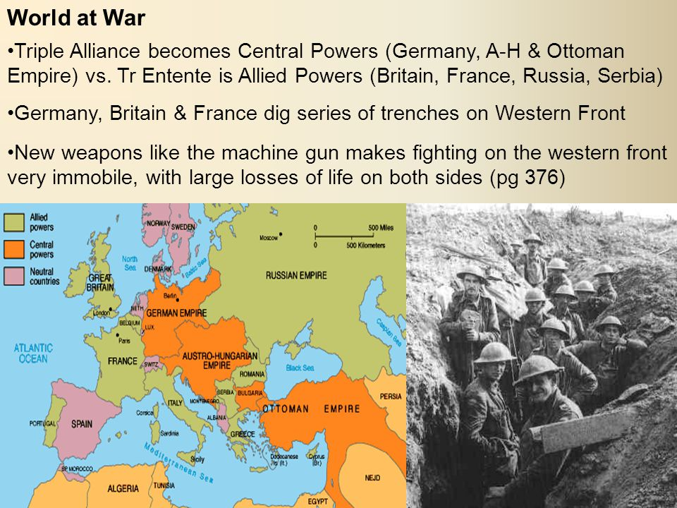 World at War Triple Alliance becomes Central Powers (Germany, A-H & Ottoman Empire) vs.
