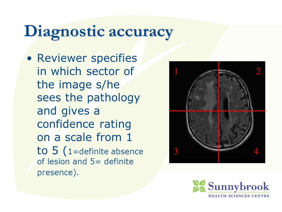 Diagnostic accuracy 12 Reviewer specifies in which sector of the image s/he sees the pathology and gives a confidence rating on a scale from 1 to 5 ( 1=definite absence of lesion and 5= definite presence).
