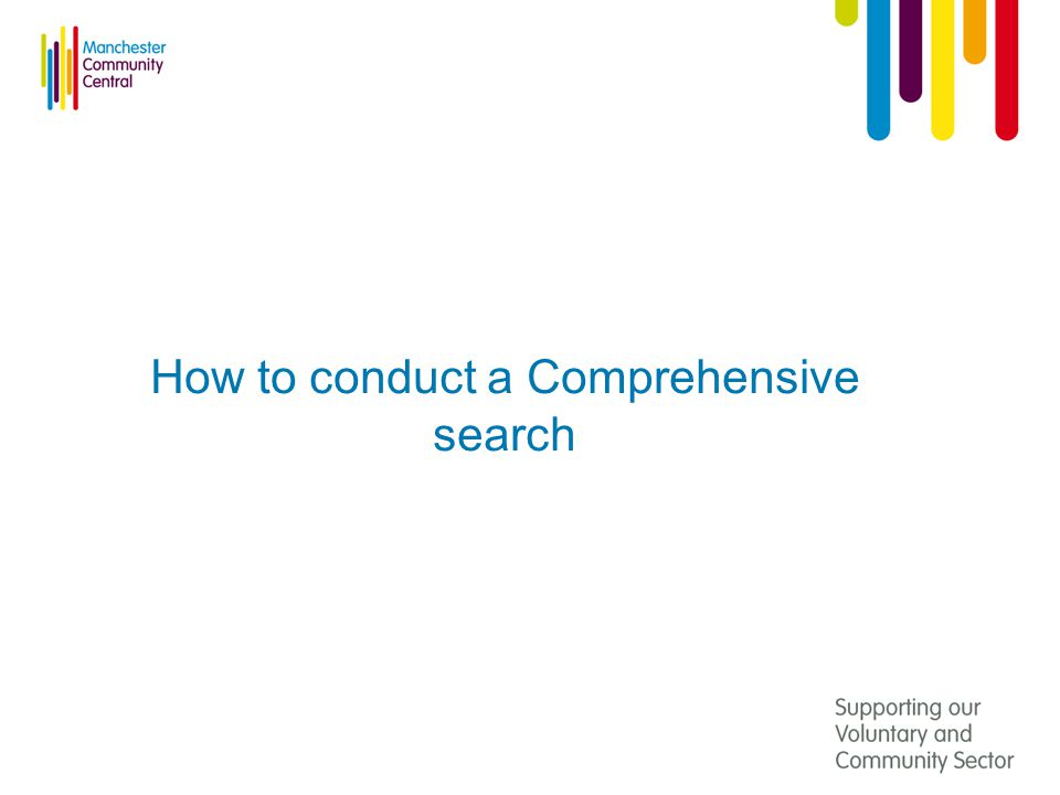 How to conduct a Comprehensive search