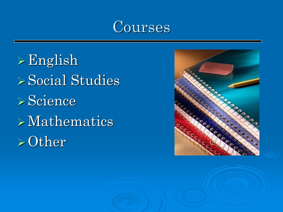 Courses  English  Social Studies  Science  Mathematics  Other