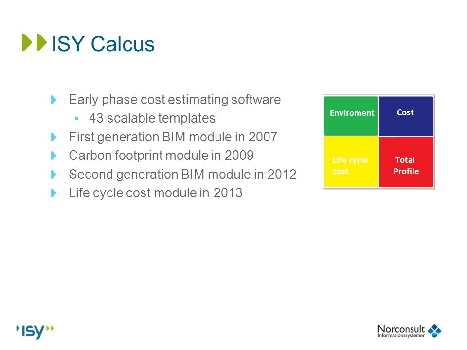 Jostein solberg norconsult informasjonssystemer breeam nor carbon 6 isy calcus early phase cost estimating software 43 scalable templates first generation bim module in 2007 carbon footprint module in 2009 second maxwellsz