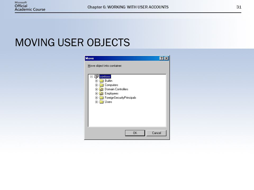 Chapter 6: WORKING WITH USER ACCOUNTS31 MOVING USER OBJECTS