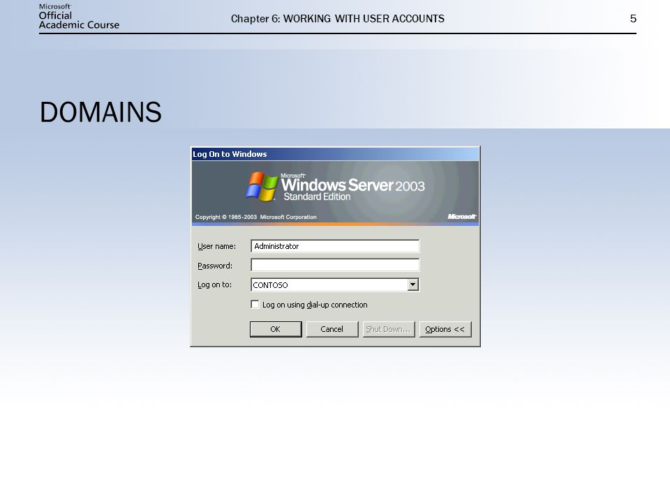 Chapter 6: WORKING WITH USER ACCOUNTS5 DOMAINS