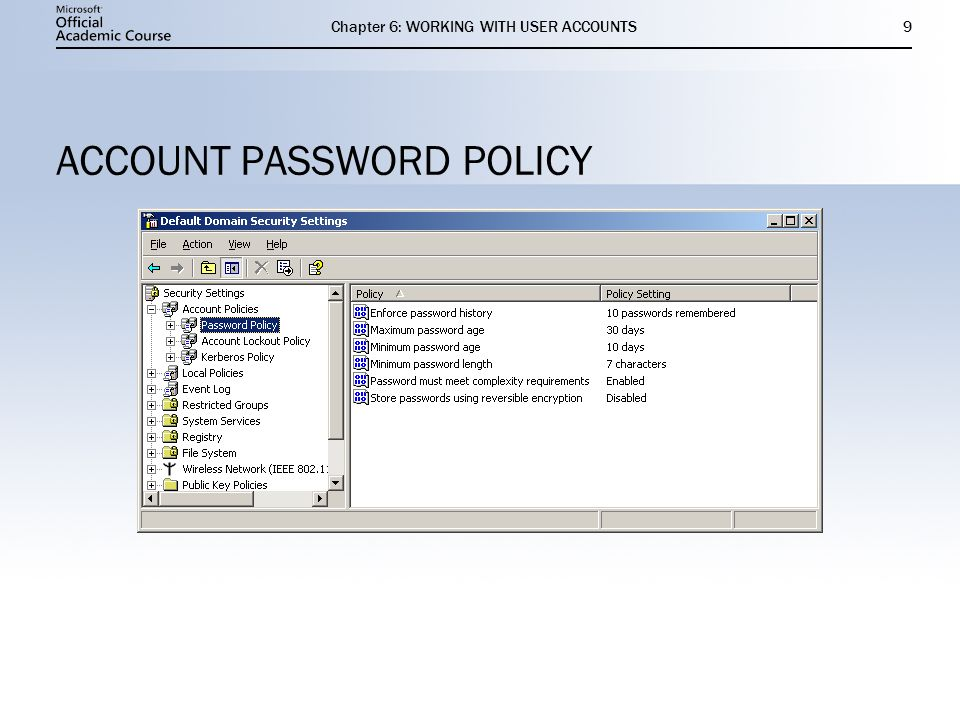 Chapter 6: WORKING WITH USER ACCOUNTS9 ACCOUNT PASSWORD POLICY