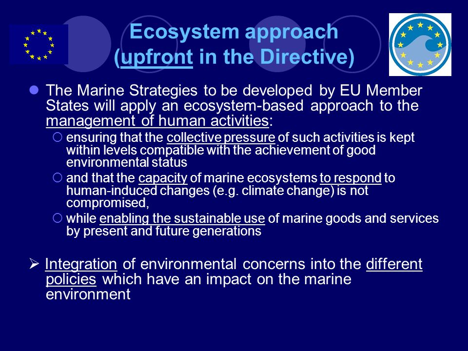 Ecosystem approach (upfront in the Directive) The Marine Strategies to be developed by EU Member States will apply an ecosystem-based approach to the management of human activities:  ensuring that the collective pressure of such activities is kept within levels compatible with the achievement of good environmental status  and that the capacity of marine ecosystems to respond to human-induced changes (e.g.