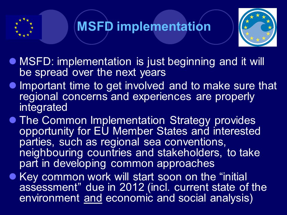 MSFD: implementation is just beginning and it will be spread over the next years Important time to get involved and to make sure that regional concerns and experiences are properly integrated The Common Implementation Strategy provides opportunity for EU Member States and interested parties, such as regional sea conventions, neighbouring countries and stakeholders, to take part in developing common approaches Key common work will start soon on the initial assessment due in 2012 (incl.