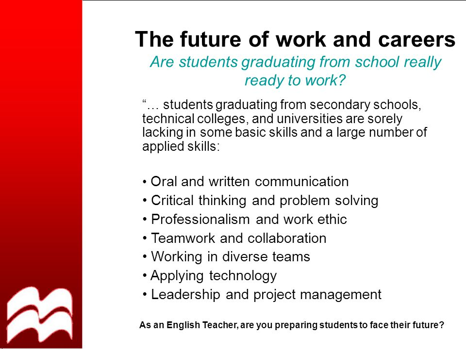 The future of work and careers Are students graduating from school really ready to work.