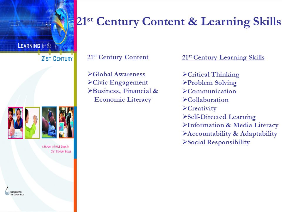 21 st Century Content  Global Awareness  Civic Engagement  Business, Financial & Economic Literacy 21 st Century Learning Skills  Critical Thinking  Problem Solving  Communication  Collaboration  Creativity  Self-Directed Learning  Information & Media Literacy  Accountability & Adaptability  Social Responsibility 21 st Century Content & Learning Skills