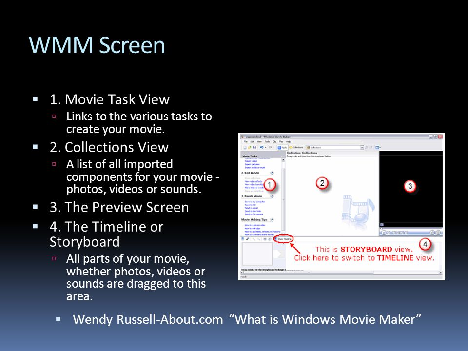 WMM Screen  1. Movie Task View  Links to the various tasks to create your movie.