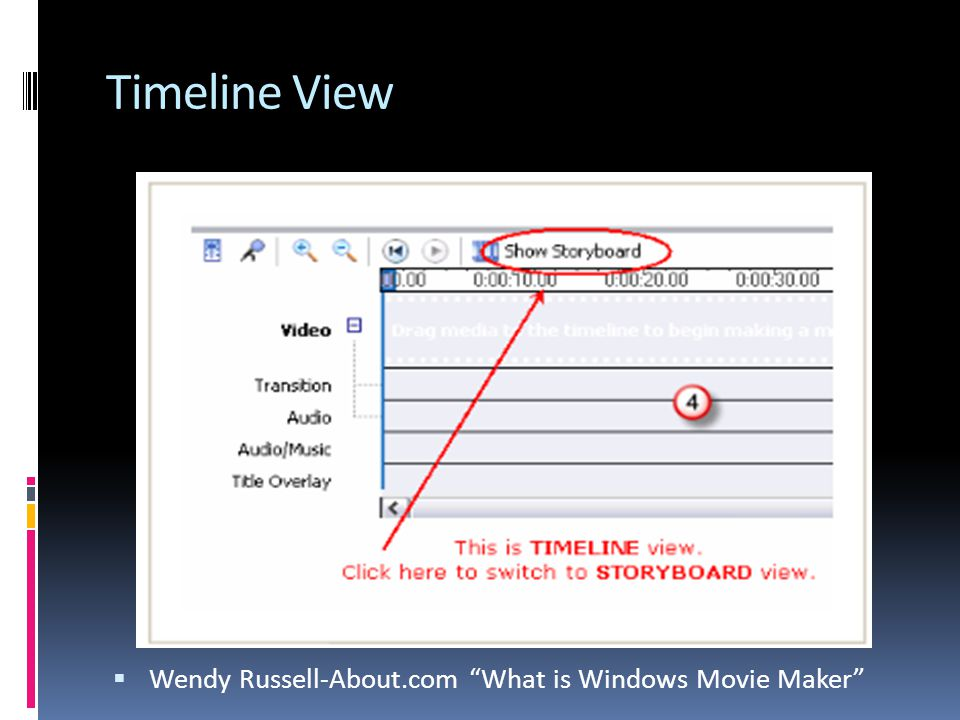 Timeline View  Wendy Russell-About.com What is Windows Movie Maker