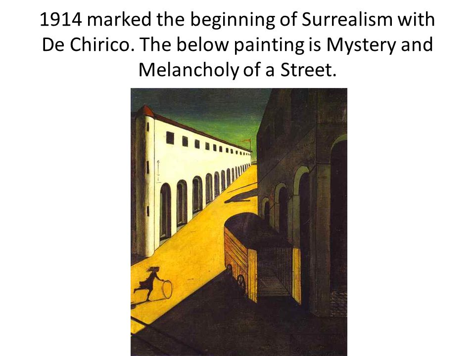 1914 marked the beginning of Surrealism with De Chirico.