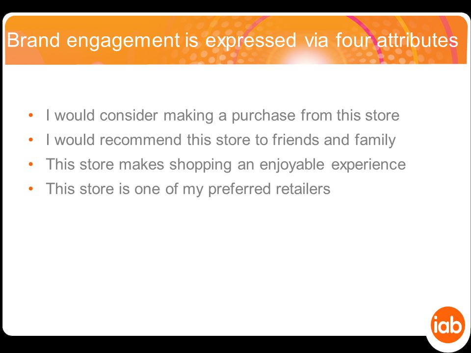Brand engagement is expressed via four attributes I would consider making a purchase from this store I would recommend this store to friends and family This store makes shopping an enjoyable experience This store is one of my preferred retailers