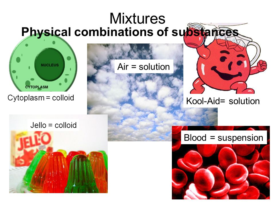 Mixtures Air = solution Physical combinations of substances Cytoplasm = colloid Blood = suspension Jello = colloid Kool-Aid= solution