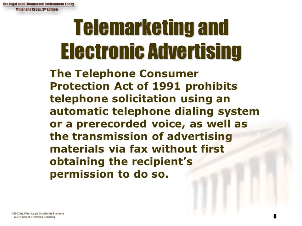 8 Telemarketing And Electronic Advertising The Telephone Consumer Protection Act Of 1991
