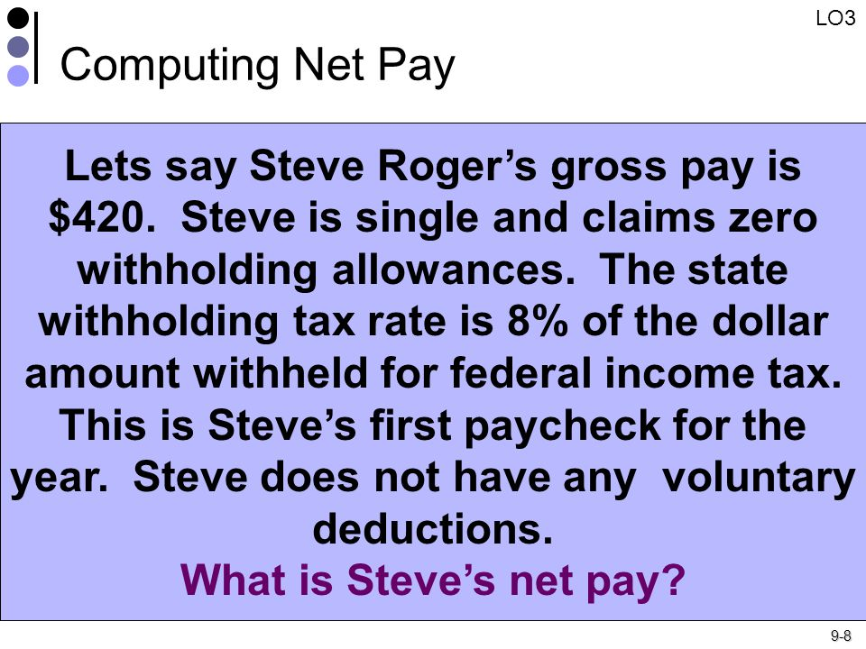 9-8 Computing Net Pay Lets say Steve Roger's gross pay is $420.