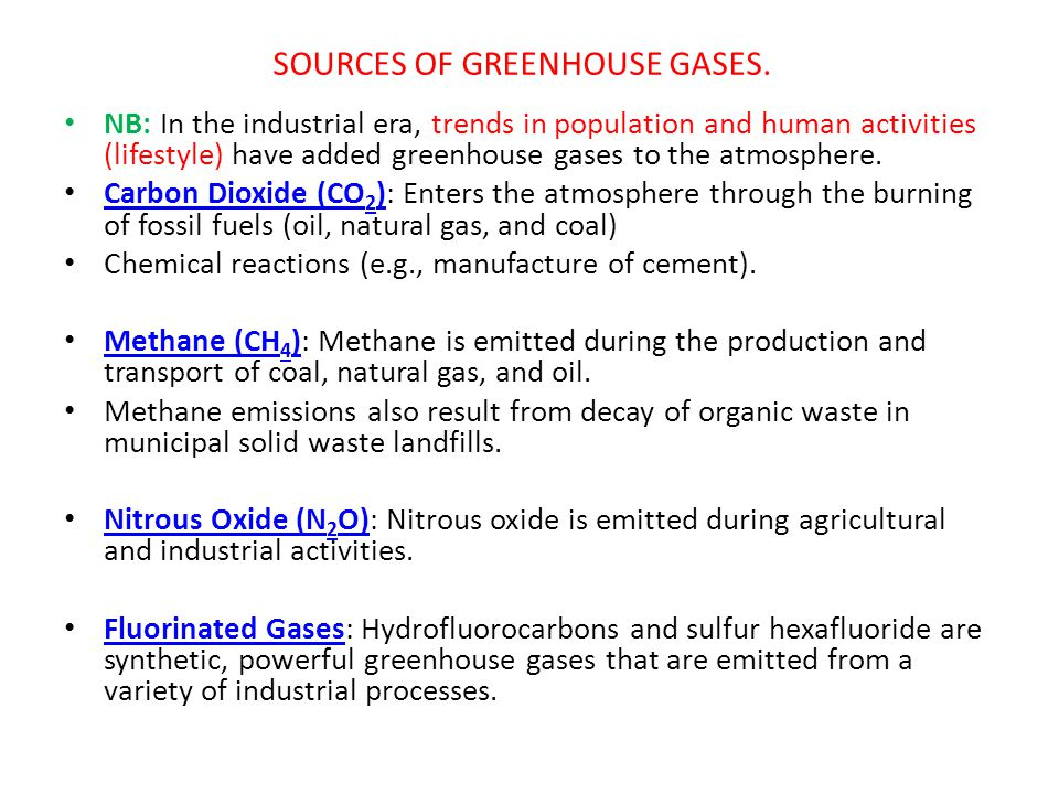 SOURCES OF GREENHOUSE GASES.