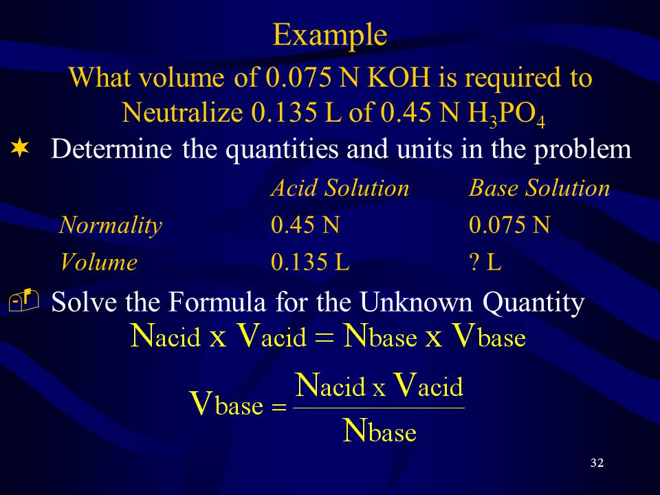 32 Example ¬Determine the quantities and units in the problem Acid SolutionBase Solution Normality0.45 N0.075 N Volume0.135 L.