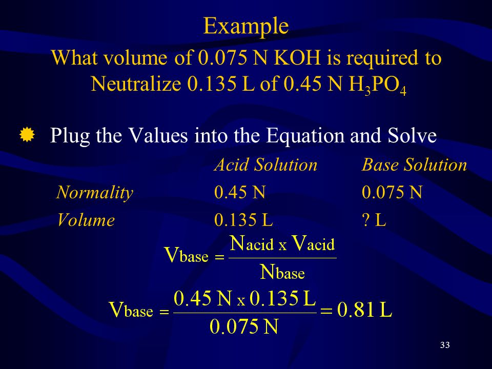 33 ®Plug the Values into the Equation and Solve Acid SolutionBase Solution Normality0.45 N0.075 N Volume0.135 L.