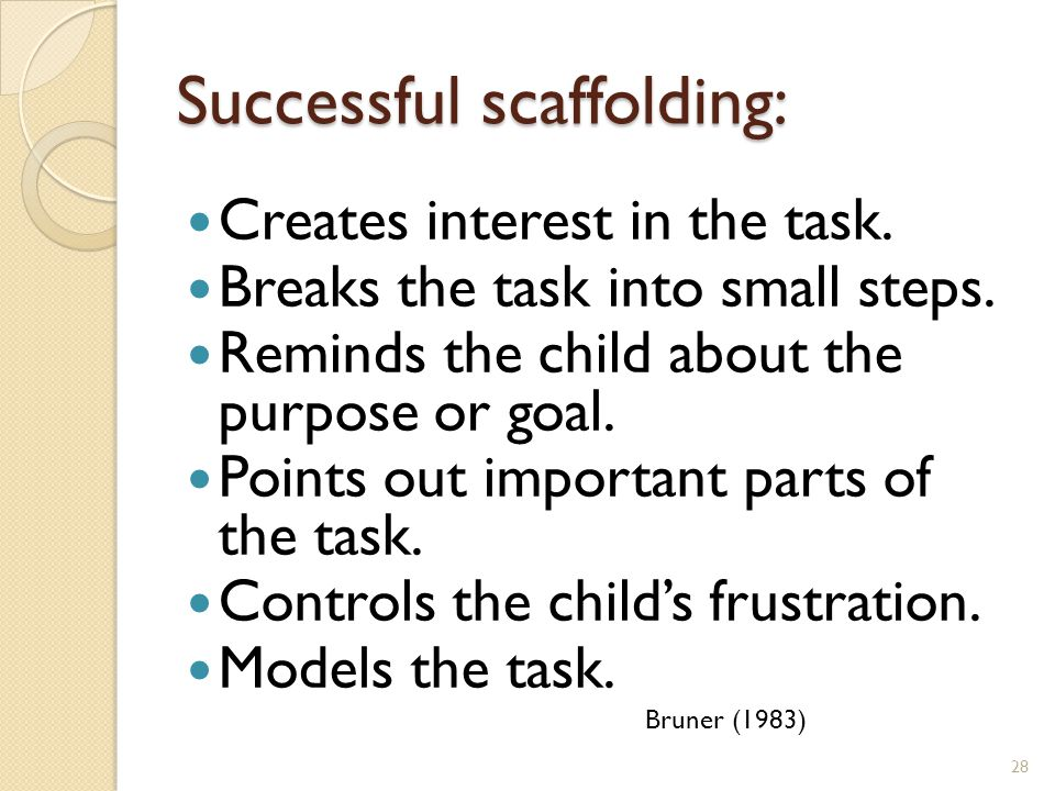 Successful scaffolding: Creates interest in the task.