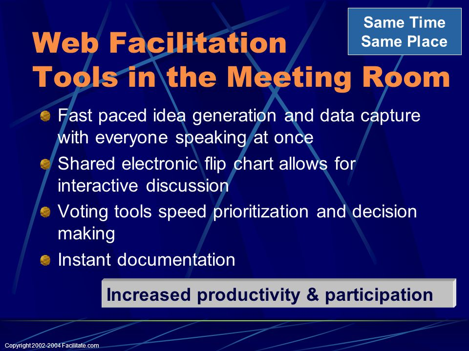 Copyright Facilitate.com Web Facilitation Tools in the Meeting Room Fast paced idea generation and data capture with everyone speaking at once Shared electronic flip chart allows for interactive discussion Voting tools speed prioritization and decision making Instant documentation Same Time Same Place Increased productivity & participation