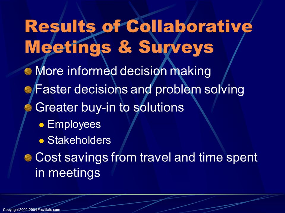 Copyright Facilitate.com Results of Collaborative Meetings & Surveys More informed decision making Faster decisions and problem solving Greater buy-in to solutions Employees Stakeholders Cost savings from travel and time spent in meetings