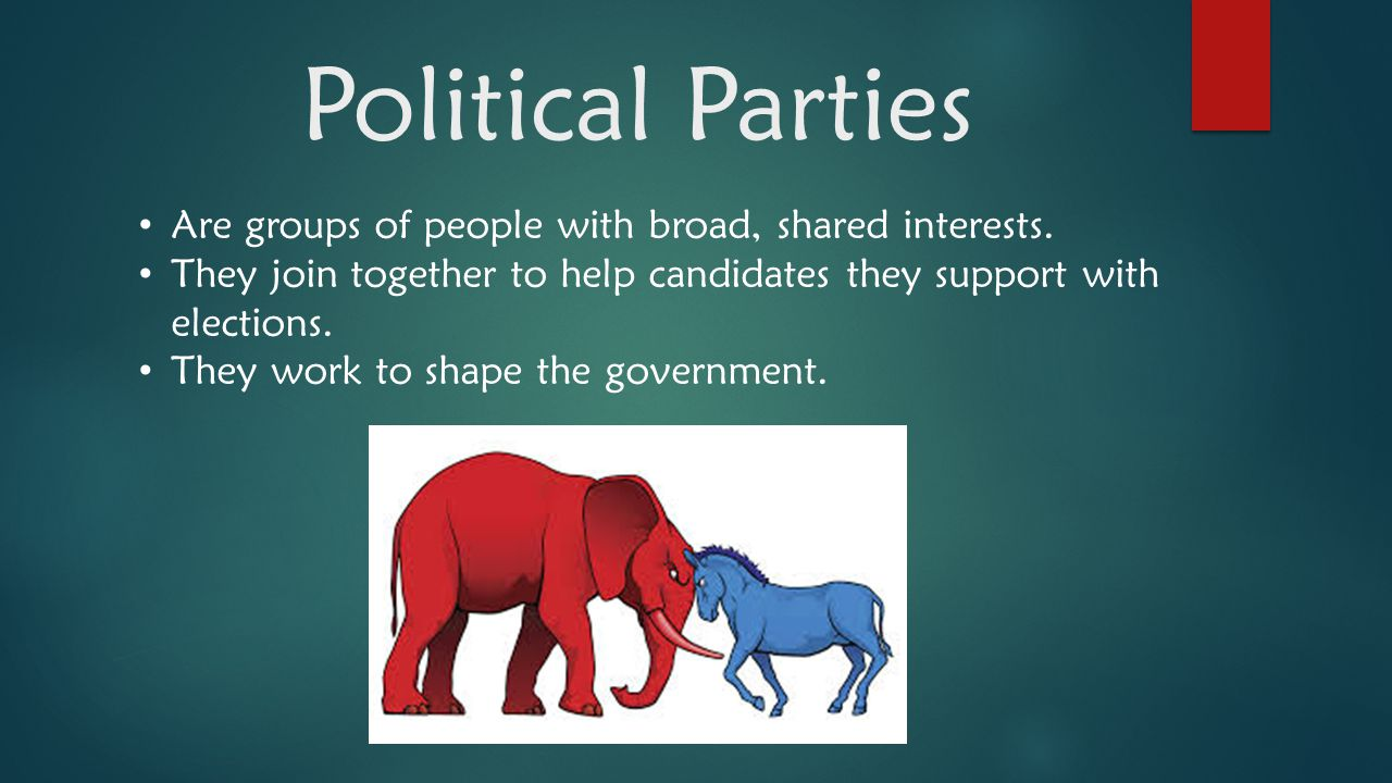 Political Parties Are groups of people with broad, shared interests.