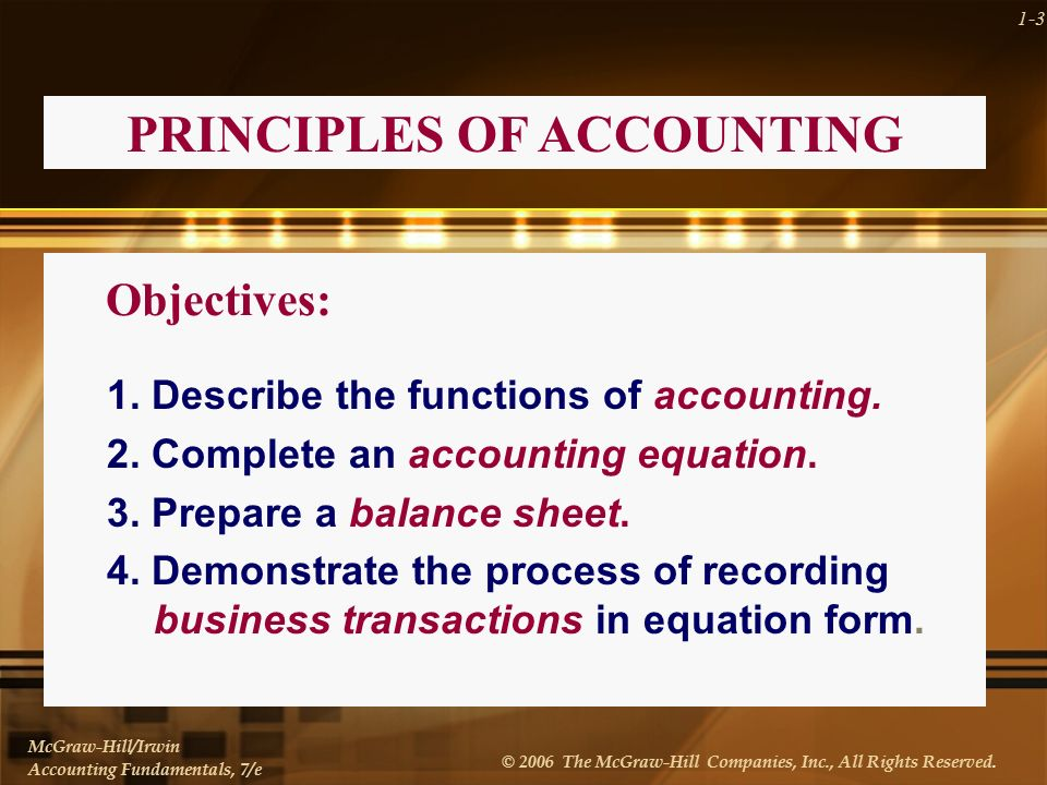 CHAPTER ONE Principles of Accounting