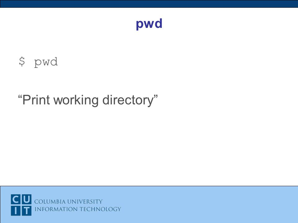 pwd $ pwd Print working directory