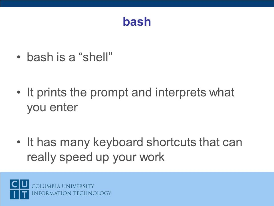 bash bash is a shell It prints the prompt and interprets what you enter It has many keyboard shortcuts that can really speed up your work