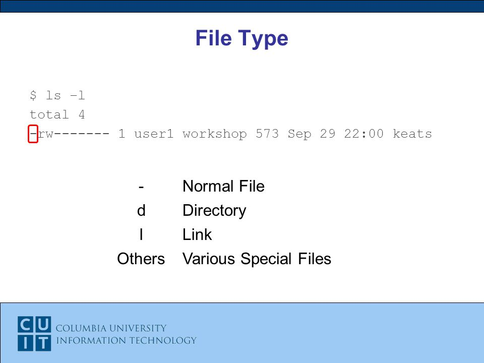 File Type $ ls –l total 4 -rw user1 workshop 573 Sep 29 22:00 keats -Normal File dDirectory lLink OthersVarious Special Files