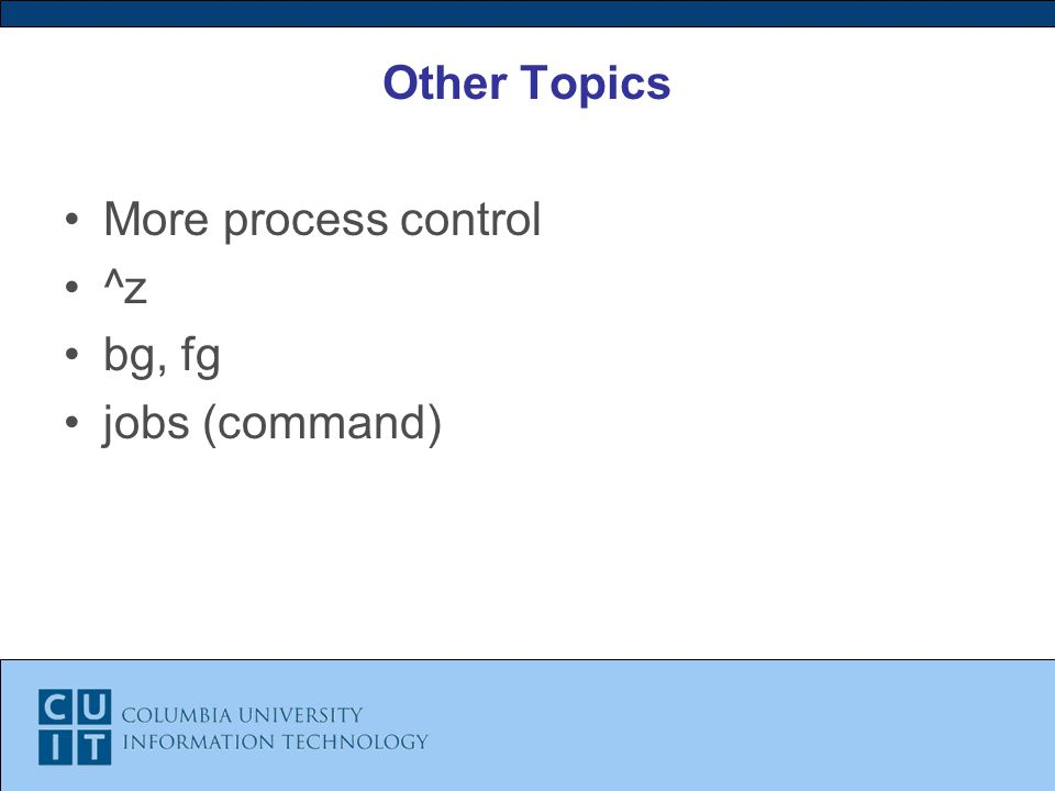 Other Topics More process control ^z bg, fg jobs (command)