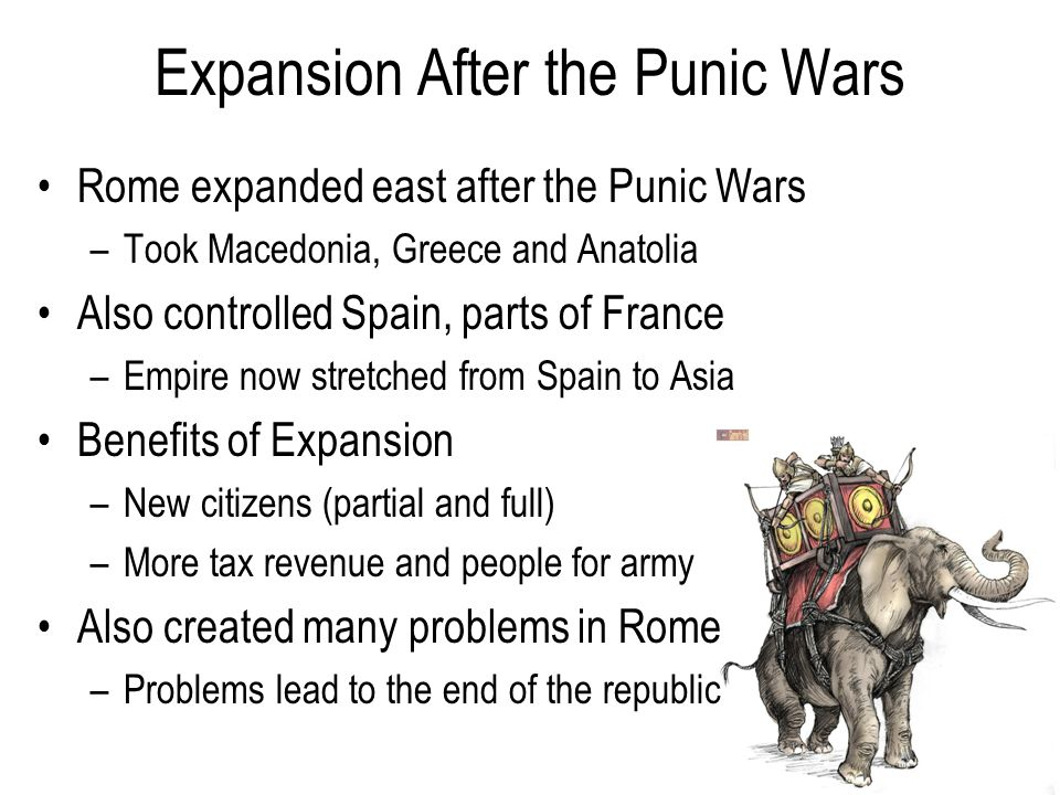 Expansion After the Punic Wars Rome expanded east after the Punic Wars –Took Macedonia, Greece and Anatolia Also controlled Spain, parts of France –Empire now stretched from Spain to Asia Benefits of Expansion –New citizens (partial and full) –More tax revenue and people for army Also created many problems in Rome –Problems lead to the end of the republic