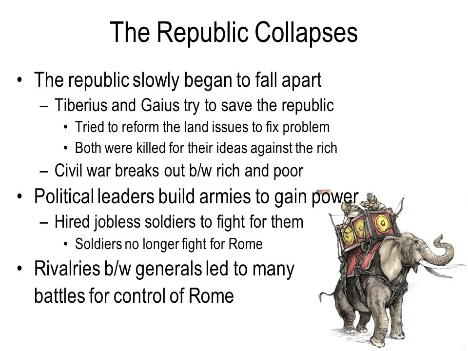 The Republic Collapses The republic slowly began to fall apart –Tiberius and Gaius try to save the republic Tried to reform the land issues to fix problem Both were killed for their ideas against the rich –Civil war breaks out b/w rich and poor Political leaders build armies to gain power –Hired jobless soldiers to fight for them Soldiers no longer fight for Rome Rivalries b/w generals led to many battles for control of Rome