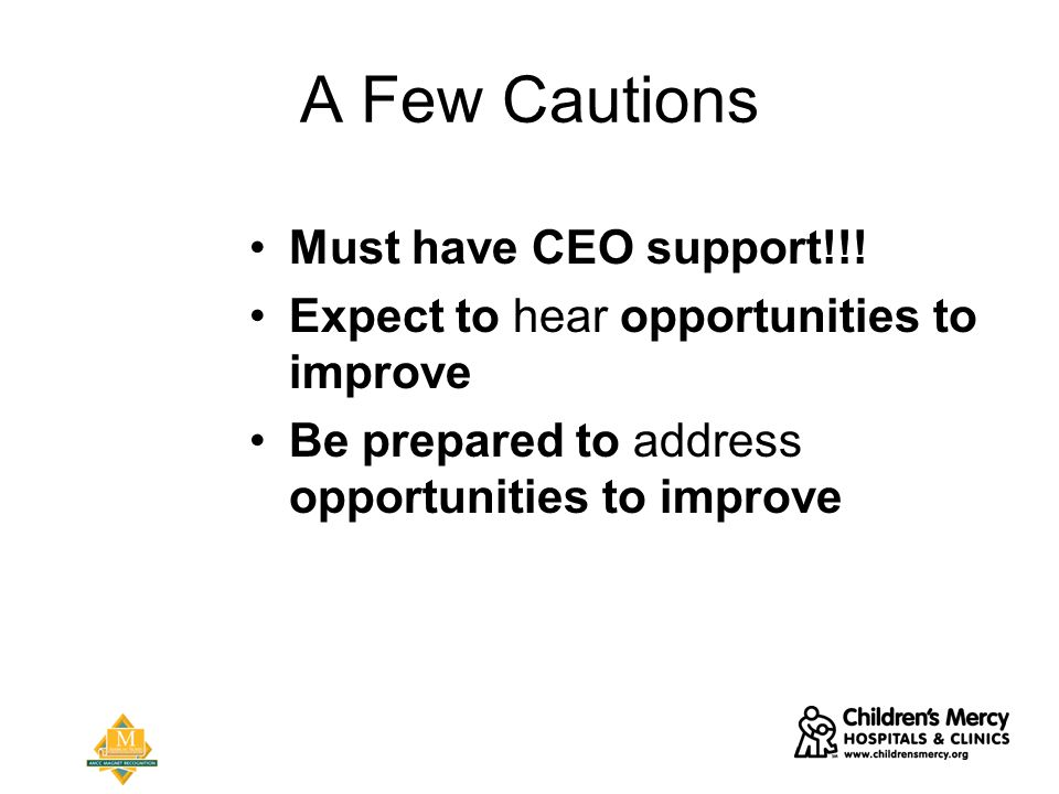 A Few Cautions Must have CEO support!!.