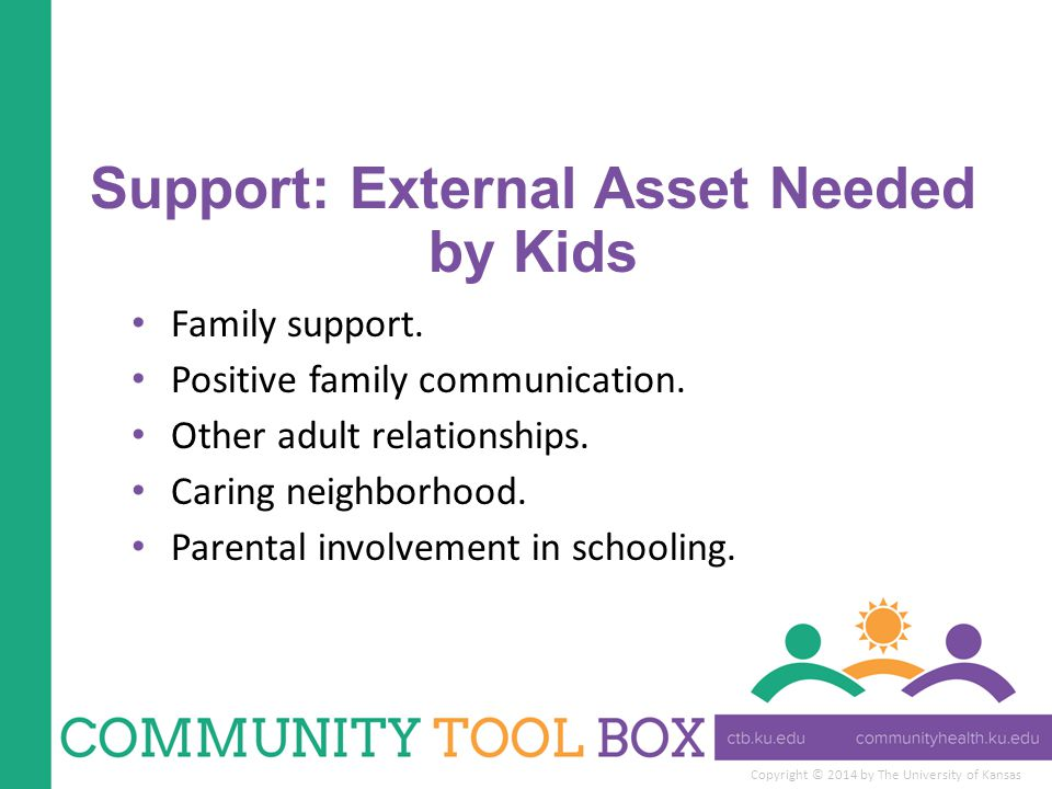Copyright © 2014 by The University of Kansas Support: External Asset Needed by Kids Family support.