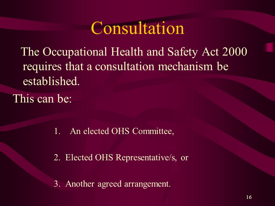 16 Consultation The Occupational Health and Safety Act 2000 requires that a consultation mechanism be established.