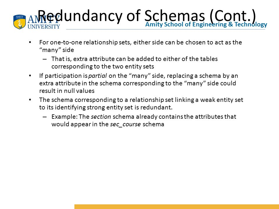 Amity School of Engineering & Technology Redundancy of Schemas (Cont.) For one-to-one relationship sets, either side can be chosen to act as the many side – That is, extra attribute can be added to either of the tables corresponding to the two entity sets If participation is partial on the many side, replacing a schema by an extra attribute in the schema corresponding to the many side could result in null values The schema corresponding to a relationship set linking a weak entity set to its identifying strong entity set is redundant.