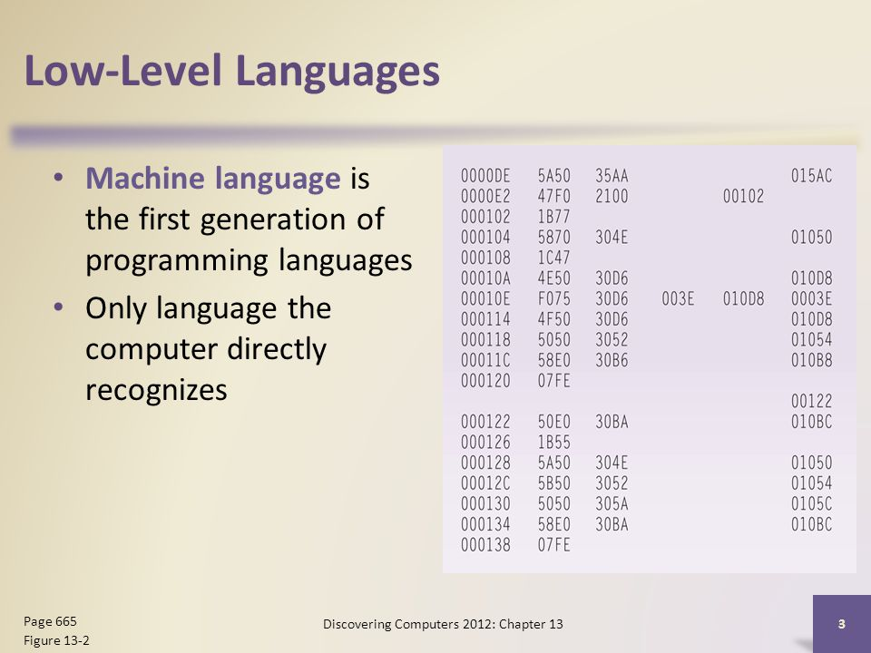 Low-Level Languages Machine language is the first generation of programming languages Only language the computer directly recognizes Discovering Computers 2012: Chapter 13 3 Page 665 Figure 13-2