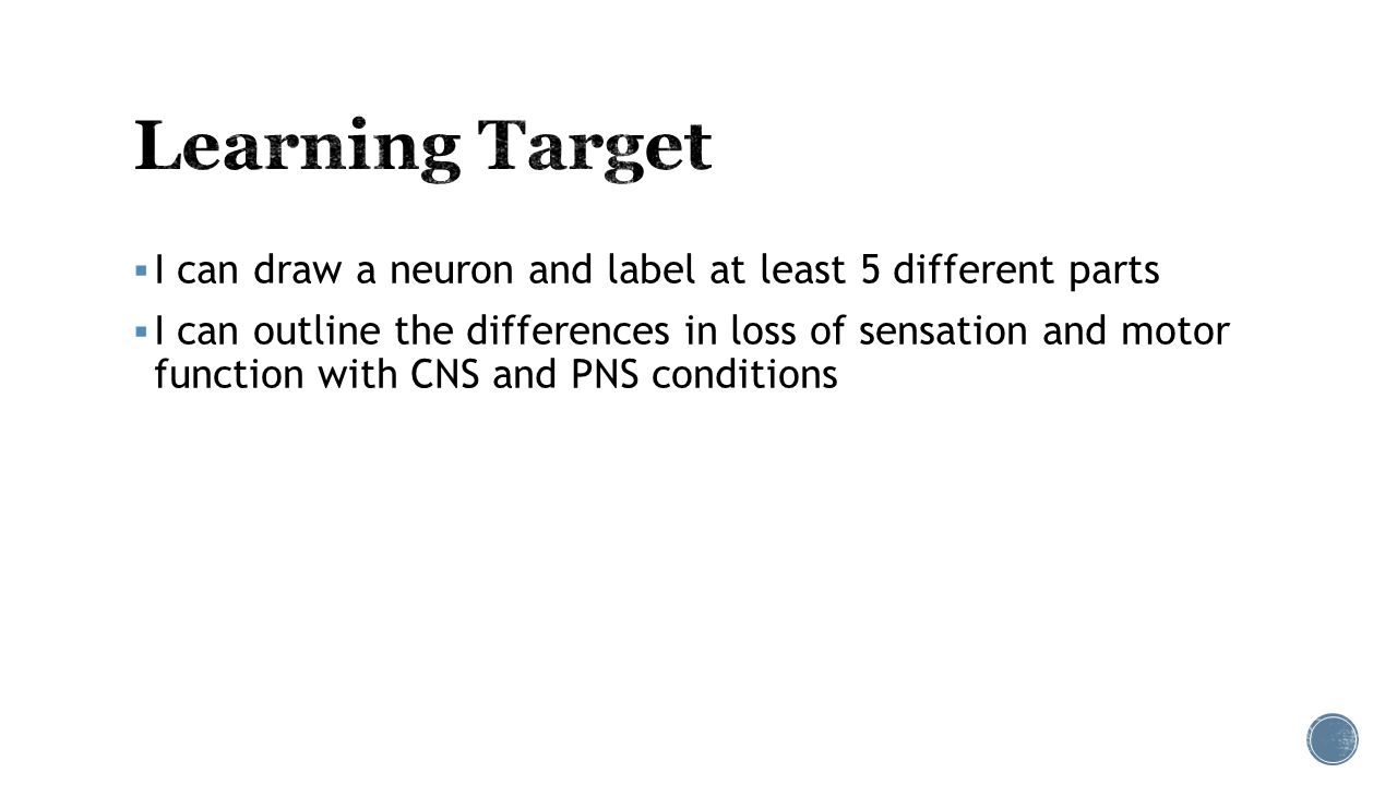  I can draw a neuron and label at least 5 different parts  I can outline the differences in loss of sensation and motor function with CNS and PNS conditions