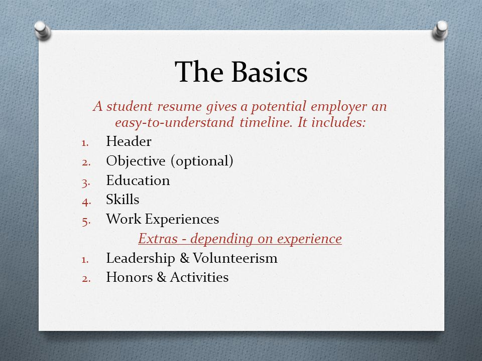 The Basics A Student Resume Gives Potential Employer An Easy To Understand Timeline